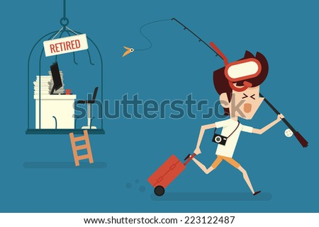 Happy businessman with Retirement concept  - stock vector