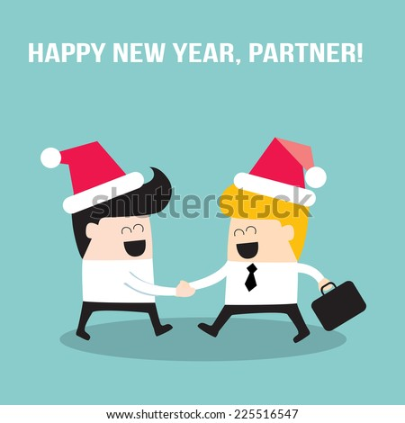Happy businessmen people shaking hands and wearing Santa Claus hats. Merry Christmas and Happy New Year, partner! Businessmen making a deal, successful business concept. Vector illustration - stock vector