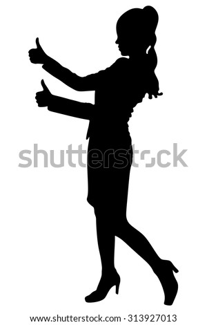 happy businesswoman showing thumbs up - stock vector