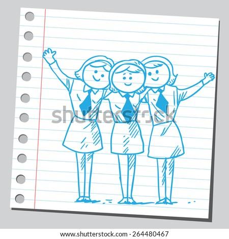 Happy businesswomen - stock vector