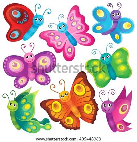 Happy butterflies theme set 1 - eps10 vector illustration. - stock vector
