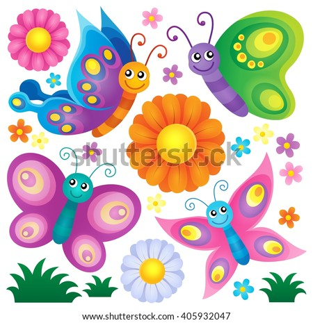 Happy butterflies theme set 2 - eps10 vector illustration. - stock vector