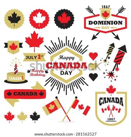 Happy Canada Day design elements set - stock vector