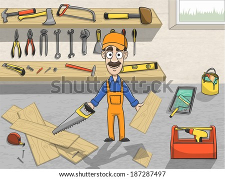Happy carpenter cartoon character in cap sawing wooden board in workroom with tool planks poster vector illustration - stock vector