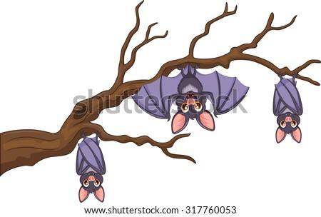 Happy cartoon bat hanging on tree - stock vector