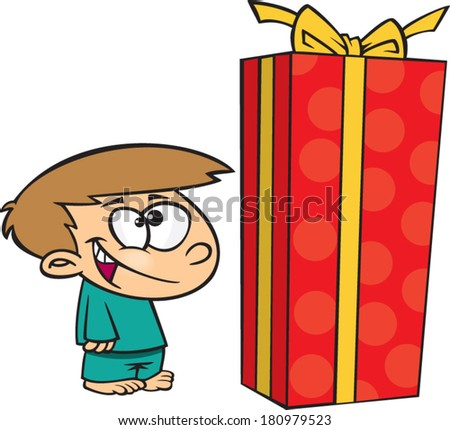 happy cartoon boy with a giant gift - stock vector