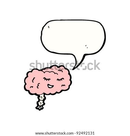 happy cartoon brain - stock vector