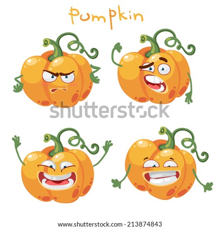 Happy cartoon character with many expressions pumpkin - stock vector