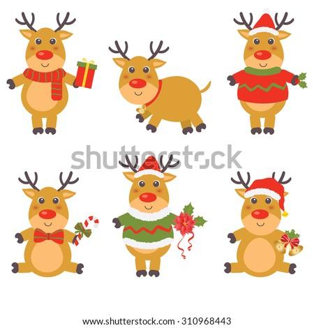 happy cartoon Christmas Reindeer - stock vector
