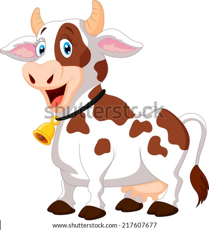 Happy cartoon cow - stock vector