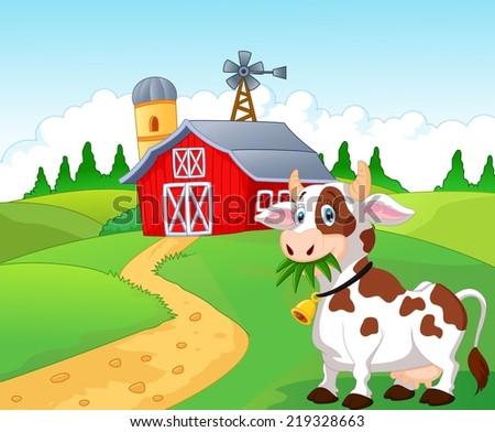 Happy cartoon cow - stock vector