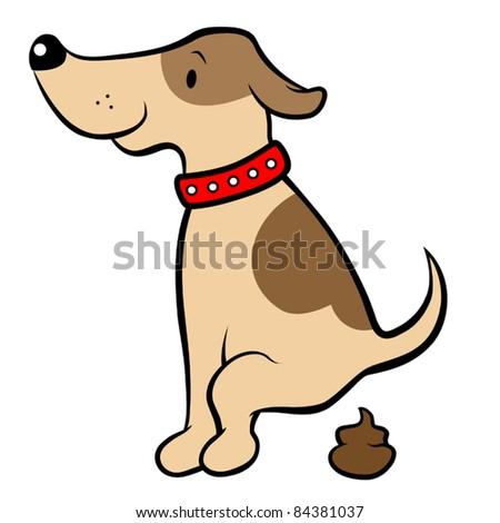 Happy cartoon dog pooping, vector illustration - stock vector
