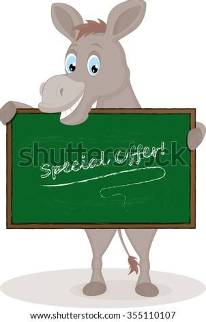 Happy Cartoon Donkey holding schoolboard  - stock vector