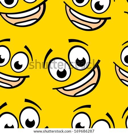 Happy cartoon emoticon seamless pattern.  - stock vector