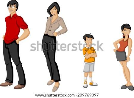 Happy cartoon family. Asian people.  - stock vector
