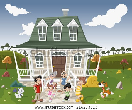 Happy cartoon family with pets in front of a country house in suburb neighborhood.   - stock vector