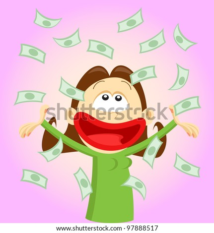 Happy cartoon girl throwing money and laughing. Vector illustration - stock vector