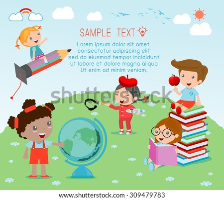 happy cartoon kids with education concept,  back to school template with kids, Kids go to school, back to school, Cute cartoon children, happy children, Vector Illustration. - stock vector