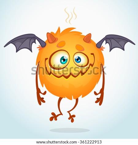 Happy cartoon monster. Vector character - stock vector