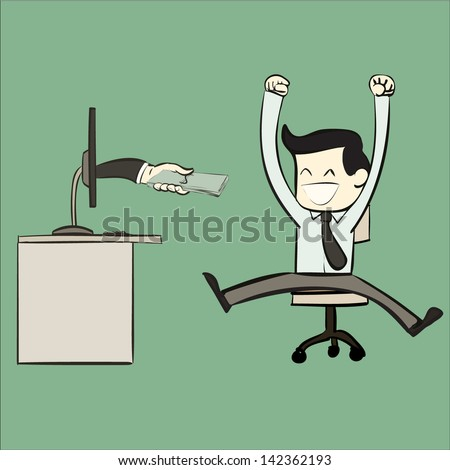 happy cartoon office worker with money payment from pc - stock vector