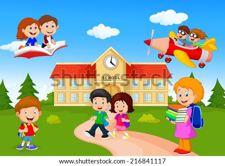 Happy cartoon school children - stock vector