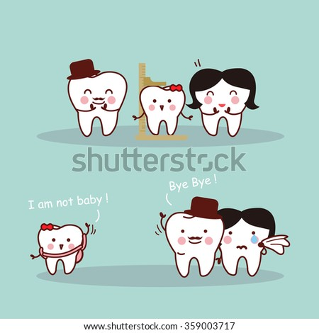 Happy cartoon tooth family measuring growth in height, great for health dental care concept - stock vector