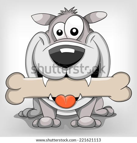 Happy cartoon vector dog with bone  - stock vector