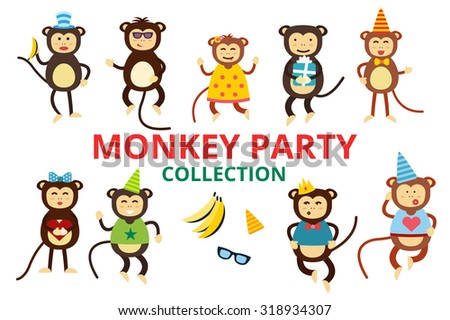 Happy cartoon vector monkey dancing party birthday background. Monkey party birthday dance. Happy monkey face, party hats, banana, jump walk, smile, play. Vector jungle monkey animals cartoon flat - stock vector