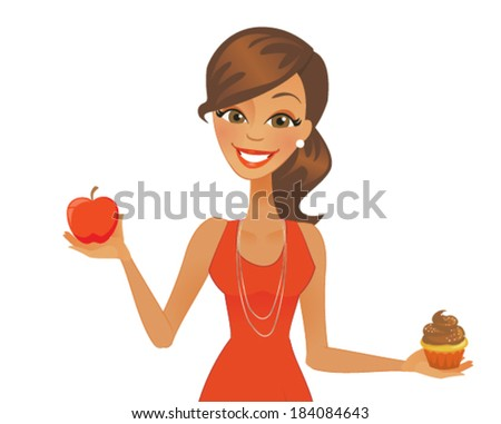 Happy Cartoon Woman with Red Apple and Cupcake - stock vector