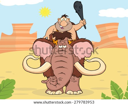 Happy Caveman Over Mammoth. Vector Illustration With Background - stock vector