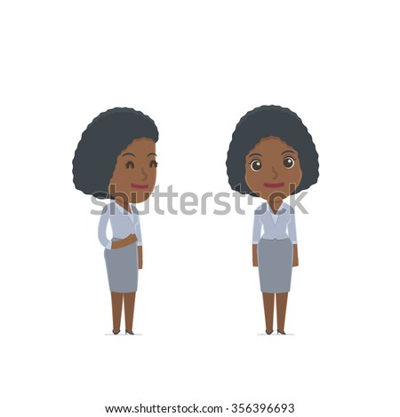 Happy Character Social Worker standing in relaxed pose. for use in presentations, etc. - stock vector