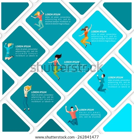 Happy cheerful men and women people jumping infographic set vector illustration - stock vector