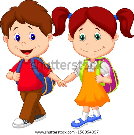 Happy children come with backpacks  - stock vector