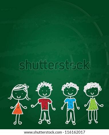 happy children drawn on a green board vector illustration - stock vector