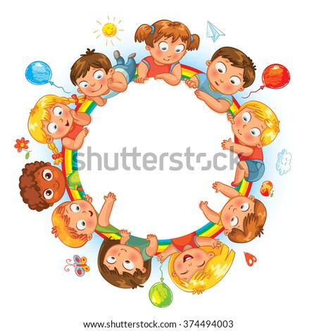 Happy children holding blank poster. Kids around circular copy space. Ready for your message. Vector illustration. Isolated on white background - stock vector