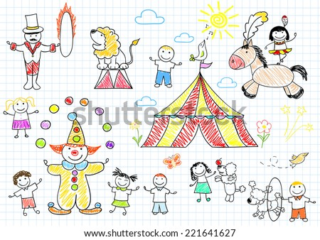Happy children in circus. Sketch on notebook page - stock vector