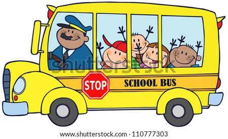 Happy Children On School Bus - stock vector