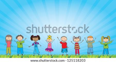 happy children over natural background vector illustration - stock vector