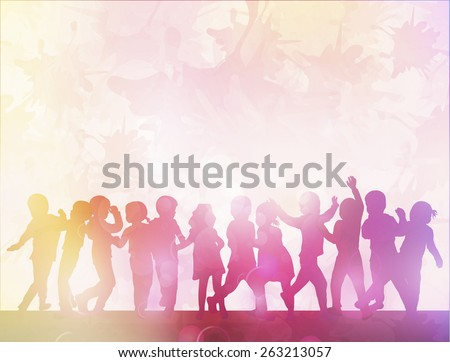 happy children silhouettes dancing together - stock vector