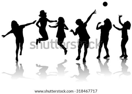 Happy children silhouettes playing - stock vector