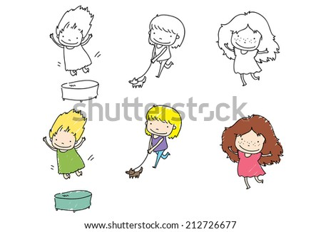 happy children spending their free time on playing - stock vector