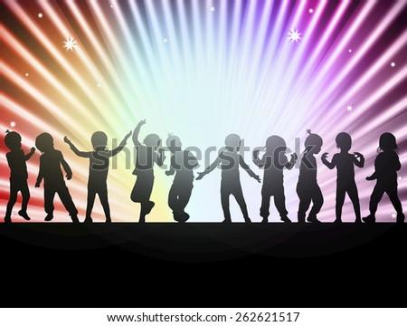 happy children together dancing - stock vector