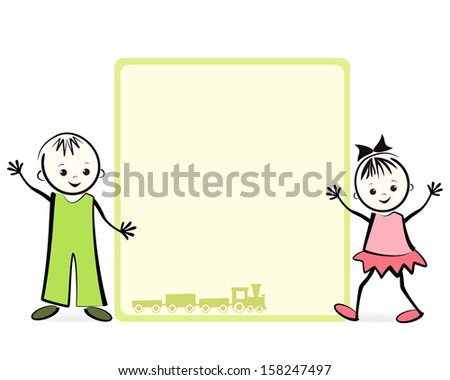 Happy children. Vector illustration with place for your text. - stock vector