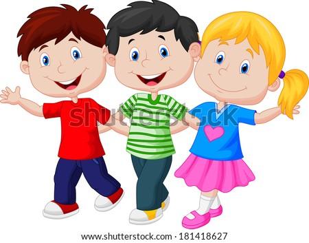Happy children walking together - stock vector