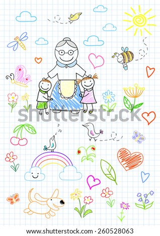 Happy children with grandmother. Sketch on notebook page - stock vector