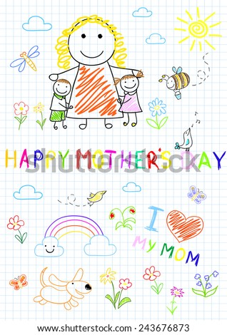 Happy children with mom. Sketch on notebook page - stock vector