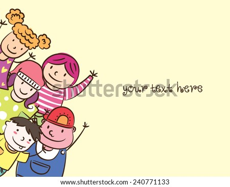 happy children with space to add text - stock vector