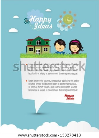 Happy children with speech bubble and fantasy landscape vector background - stock vector