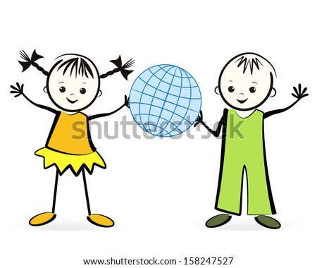 Happy childrens with globe. Vector illustration. - stock vector