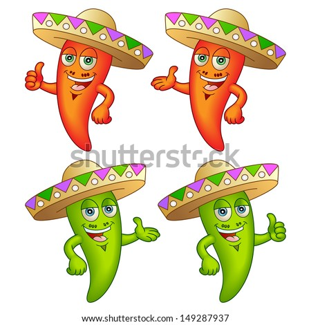 Happy chili peppers with hats. Great for any menu. Vector illustration. - stock vector